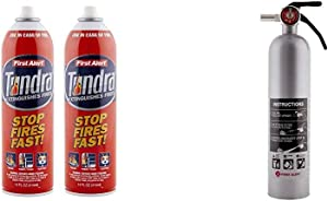 First Alert Fire Extinguisher | Tundra Fire Extinguishing Aerosol Spray, Pack of 2, AF400-2 & Fire Extinguisher | Designer Home Fire Extinguisher, Pewter, 2.5 lb, DHOME1 FE1A10GR