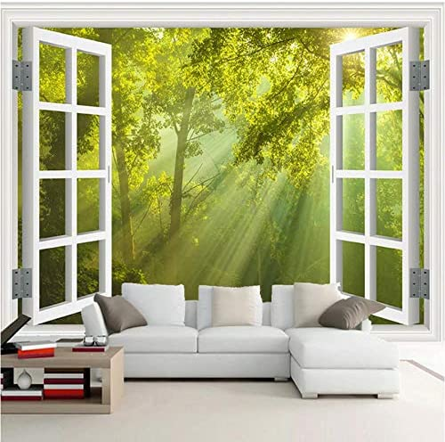 Custom mural 3D window green big tree forest landscape
