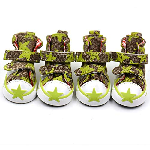 Jim Hugh Pet Dog Shoes with Double Magic Stick Five-Pointed Star Pattern Non Slip Puppy Shoes with 5 Size (Dog Camo Green Boots)