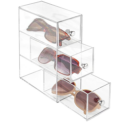 mDesign Slim Plastic Eye Glass Storage Organizer Box Holder for Sunglasses, Reading Glasses, Accessories - Use Horizontally or Vertically - 3 Drawers, Chrome Pulls - Clear