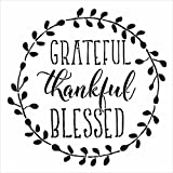 Grateful, Thankful, Blessed - Word Art Stencil - STCL1803 - by StudioR1 (16'' x 16'')