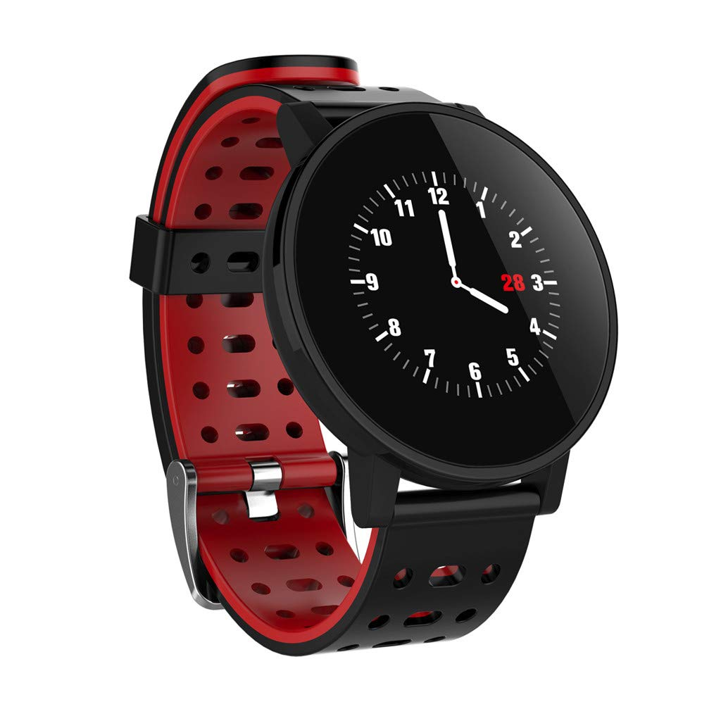 Large Screen Smart Bracelet,T3 1.3 Inch Color Screen Sleep Tracker Bracelet Tape Activity Step Calories Remote Control Watch For Kids Women Men (Red)
