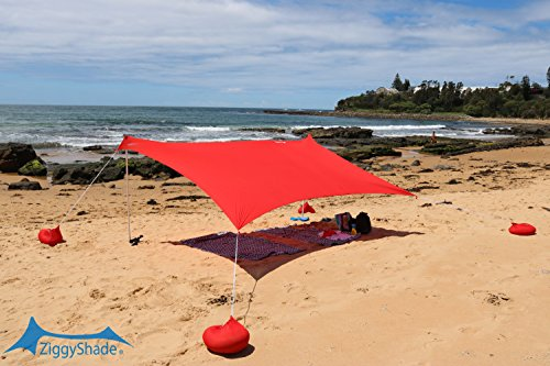 ZiggyShade – Beach Tent – Sun Shade – With Sandbag Anchors – UPF50+ (Red, Standard)