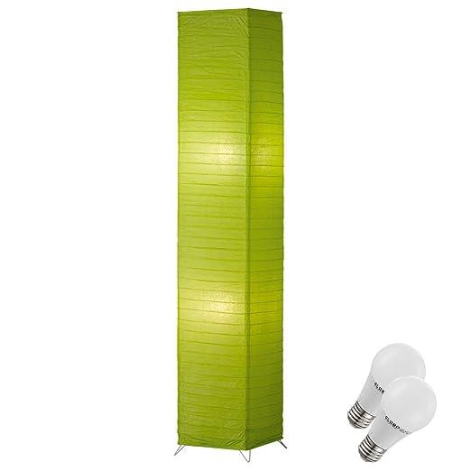Lampadaire Led Papier Luminaire Sur Pied Interrupteur Vert Lampe Del