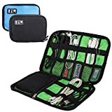 YuCool Cable Organizer Electronics Accessories Case, 2 Pack Portable Travel Bag for Hard Drive, USB, Phone Charger, Charging Cable, Power Bank - Black, Blue
