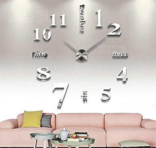 Unique Gadget DIY Wall Clock 3D Sticker Home Office Decor 3D Wall Clock (Covering Area:100*100cm) -...