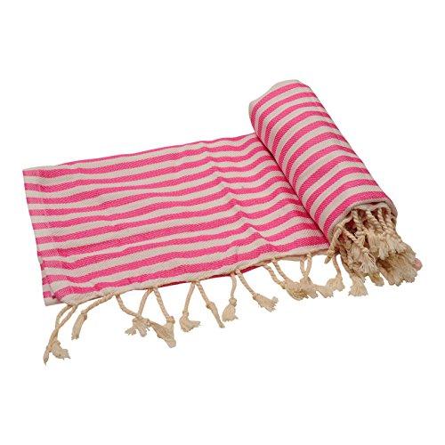 Anatolia Towel Cappadocia Collection Turkish Towel Peshtemal Fouta Bath Towel Beach Towel Swimsuit Cover Up Spa Sauna Travel Gym Picnic Yoga, Striped 100% Cotton 39''x70'' (Pink) by Anatolia Towel