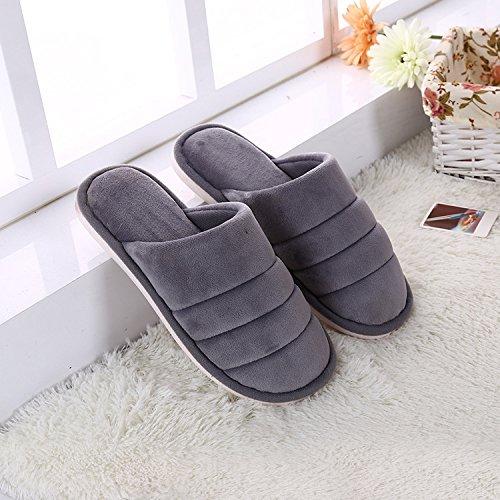 Y-Hui Otoño e Invierno ultra suave color Baldosa madera cálida casa zapatillas de algodón grueso algodón color de patinaje de arrastre en invierno,28 (4142 pies),Gris azulado