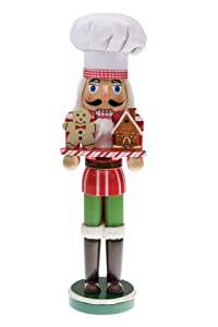 """Clever Creations Christmas Chef Nutcracker Holding Gingerbread Man and House 