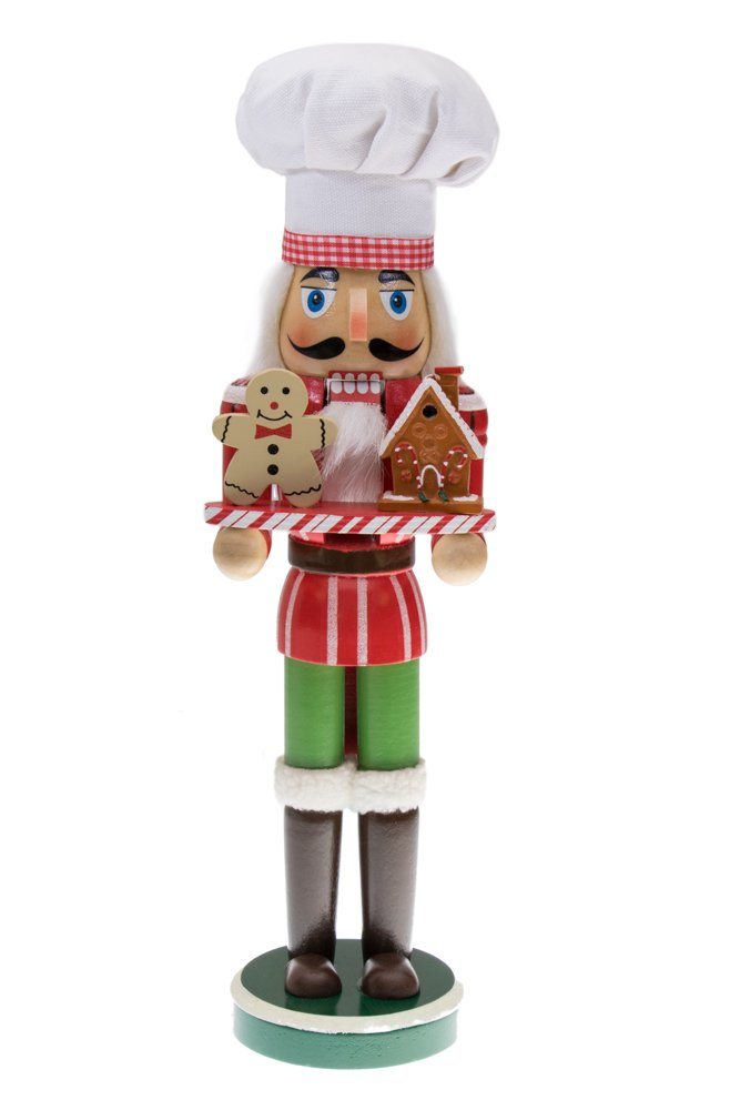 Christmas Chef Nutcracker by Clever Creations | Holding Gingerbread Man and House | Perfect for Any Collection | Festive Christmas Decor | Perfect for Shelves and Tables | 100% Wood | 15'' Tall