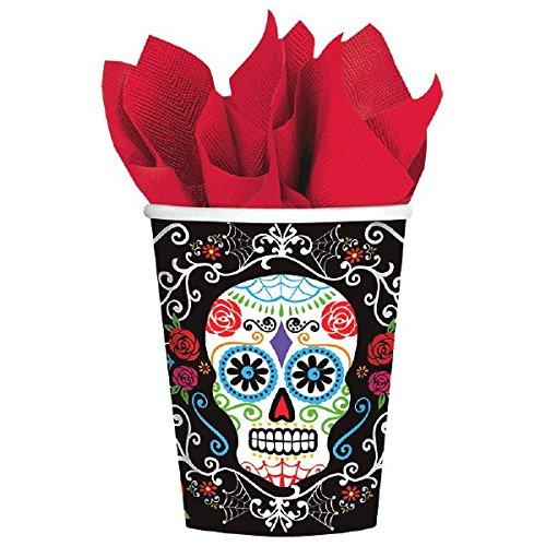 Amscan Day of the Dead Sugar Skull Disposable Paper Cups, Multicolor, 9 oz