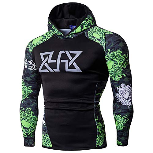 (Simayixx Sport Shirts for Men Big Men's Compression Long Sleeve Base Layer Pullover Hoodies,Quick Dry Spider Tee Green)