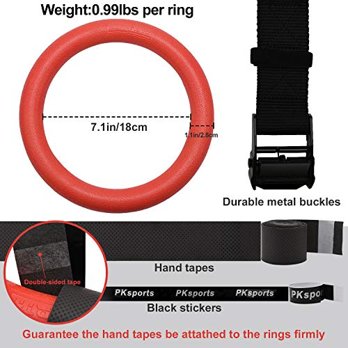 PACEARTH Gymnastic Rings 1100lbs Capacity with 14.76ft Adjustable Buckle Straps Pull Up Exercise Rings Non-Slip Rings for Home Gym Full Body Workout