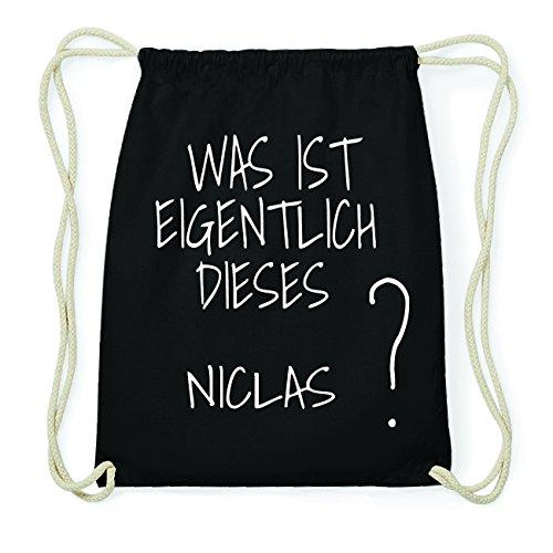JOllify NICLAS Hipster Turnbeutel Tasche Rucksack aus Baumwolle - Farbe: schwarz Design: Was ist eigentlich
