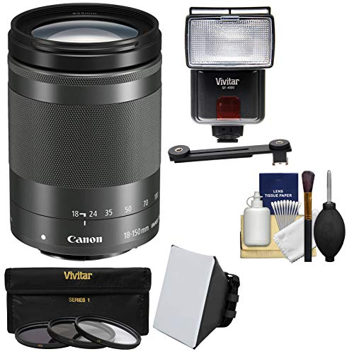 Canon EF-M 18-150mm f/3.5-6.3 is STM Zoom Lens (Graphite) with 3 UV/CPL/ND8 Filters + Flash & Video Light + Diffuser + Soft Box + Kit