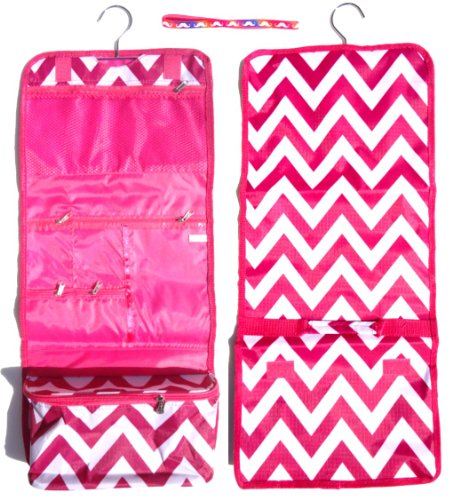 UPC 723175871618, Large Pink Chevron Hanging Cosmetic Case Toiletry Travel Bag Set with Headband TravelNut® Unique Cool Birthday Great Mother Day Nurse College Graduation Gift Idea