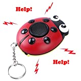 Starsprairie Personal Alarm Safety Human Voice Scream Help 130dB Siren SOS Strobe Light Flashlight Built-in Speaker USB Charge Ladybug Shape with Wrist Strap for Kids Elderly Girl Women