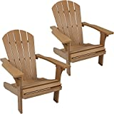 Sunnydaze Outdoor Adirondack Patio Chair, All-Weather Faux Wood Design, Set of 2, Brown For Sale
