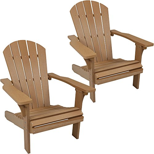 Sunnydaze Outdoor Adirondack Patio Chair, All-Weather Faux Wood Design, Set of 2, Brown