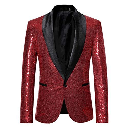 - TANLANG-men Gold Sequined Blazer Performance Costume Seersucker Modern-Fit THFlex Stretch Blazer Performance Suit ZT-X59