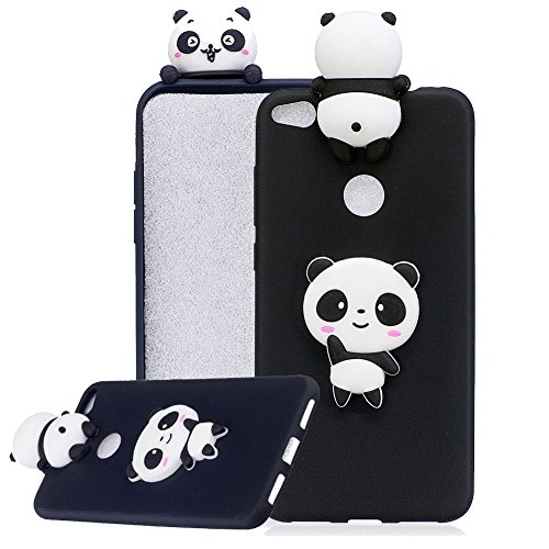 (Aearl for Huawei P8 Lite 2017/P9 Lite 2017/Honor 8 Lite 3D Three-dimensional Cartoon Cute TPU Silicone Case Lovely Papa Animal Protective Back Bumper Cover with Screen Protector for Women -Black)