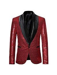 Sinzelimin Men Stylish Sequin Blazer Solid Suit Blazer Business Wedding Party Outwear Jacket Tops Blouse Wedding Suit for Men