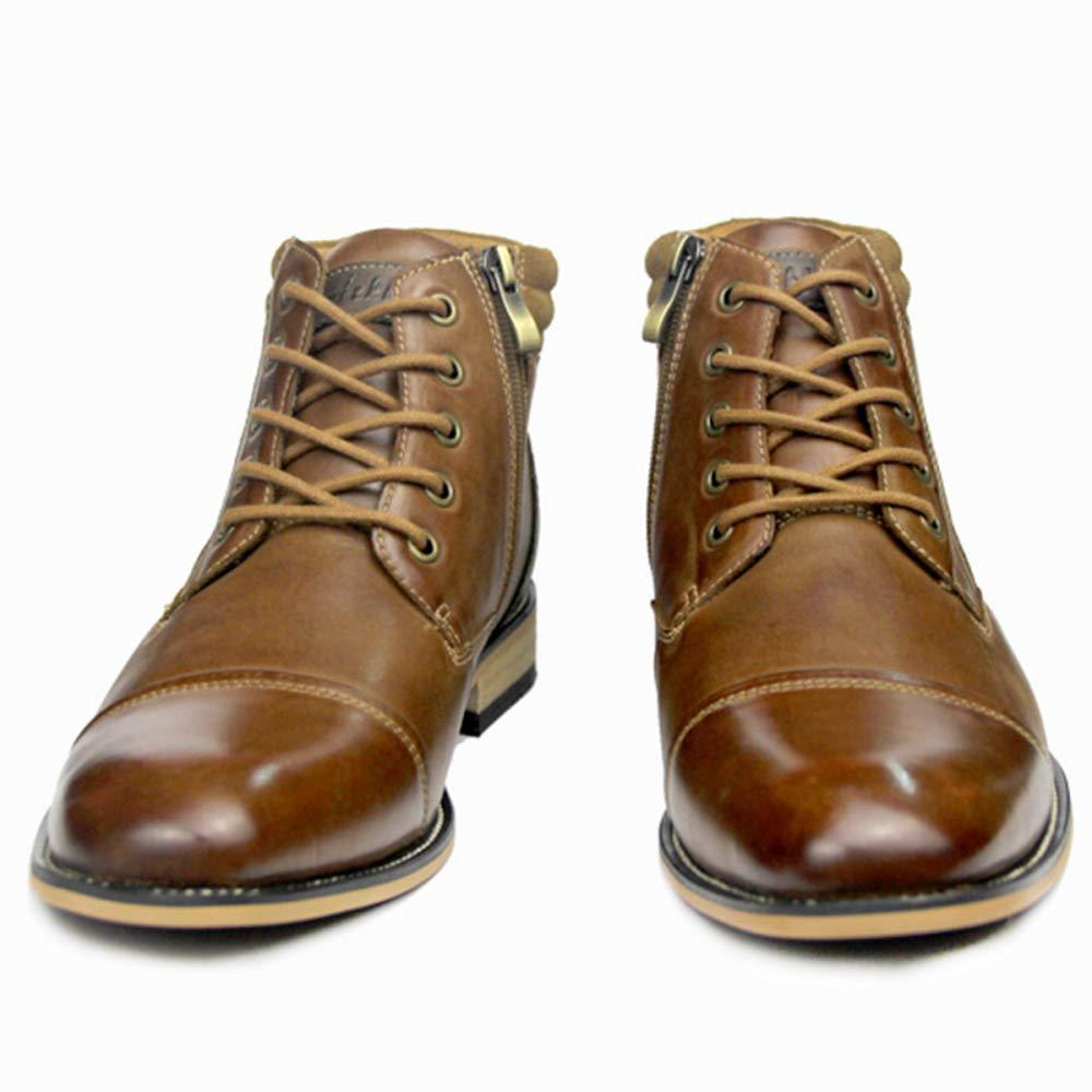 MERRYHE Lace-Up Reißverschluss Formelle Kleidung Kleidung Kleidung Stiefeletten Für Männer Echtes Leder Spitz Martin Stiefel Vintage Große Schuhe Für Party Business Work 0dee6e