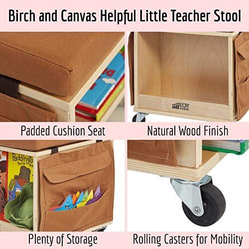 ECR4Kids Birch Hardwood and Canvas Mobile Teacher Stool