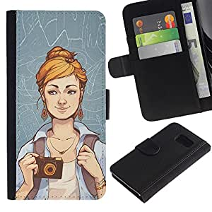 KLONGSHOP // Tirón de la caja Cartera de cuero con ranuras para tarjetas - Hipster Chica - Samsung Galaxy S6 //