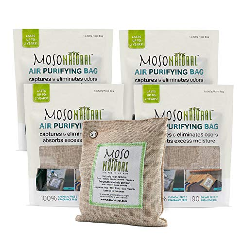 MOSO NATURAL Air Purifying Bags. Odor Eliminator and Odor Absorber. (4) Individually Sealed 200g Natural Deodorizer Bags.