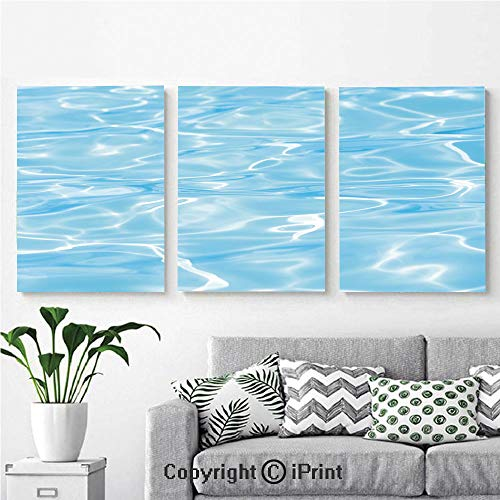 Wall Art Decor 3 Pcs High Definition Printing Swimming Pool Ocean Sea Surface with Sun Reflection Geometrical Shapes Print Painting Home Decoration Living Room Bedroom Background,16