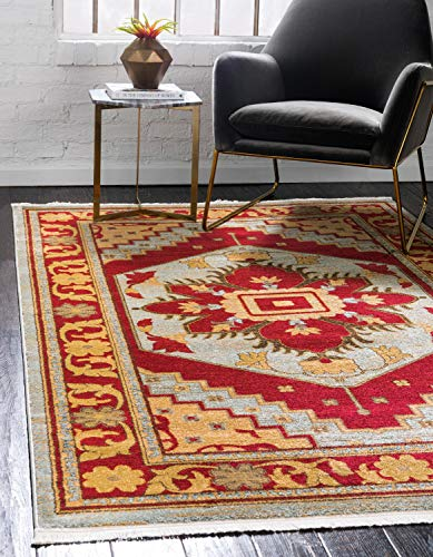 - Unique Loom Sahand Collection Traditional Geometric Classic Light Blue Area Rug (10' 0 x 13' 0)