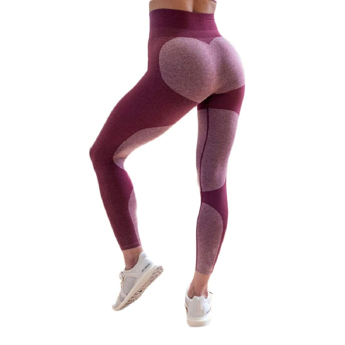 CSSD Women {Yoga} {Geometry Printed} {Patchwork Sweatpants} Workout Gym {Fitness Leggings} {Sports Pants} {Athletic Clothes} Dance Cropped Leggings {High Waist} {Stretch Trousers} (Red, XL)