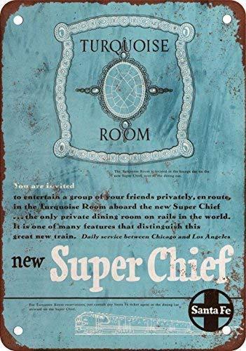 - WDRN 1950 Santa Fe Super Chief Turquesa habitación, diseño clásico de reproducción Metal tin Sign 7.8inch11.8inch