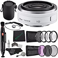 Nikon 1 NIKKOR 10mm f/2.8 Lens (White) + 40.5mm 3 Piece Filter Set (UV, CPL, FL) + 40.5mm +1 +2 +4 +10 Close-Up Macro Filter Set with Pouch + Lens Pen + Cloth + Lens Cap Keeper + SLR Lens Pouch