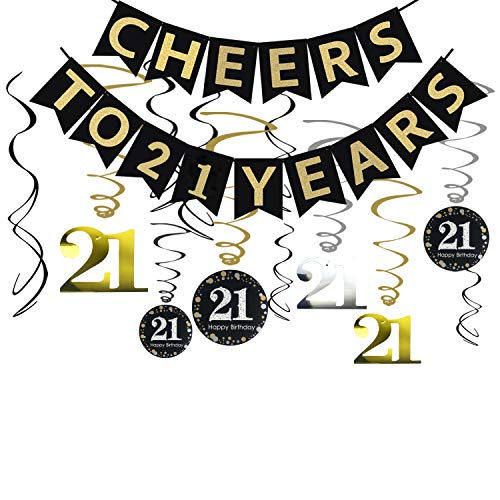 Tuoyi 21st Birthday Party Decorations KIT - Cheers to 21 Years Banner, Sparkling Celebration 21 Hanging Swirls, Perfect 21 Years Old Party Supplies 21st Anniversary Decorations