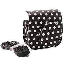 [Fujifilm Instax Mini 8 Case] - CAIUL Comprehensive Protection Instax Mini 8 8+ 9 Camera Case Bag With Soft PU Leather Material (Dot Black)
