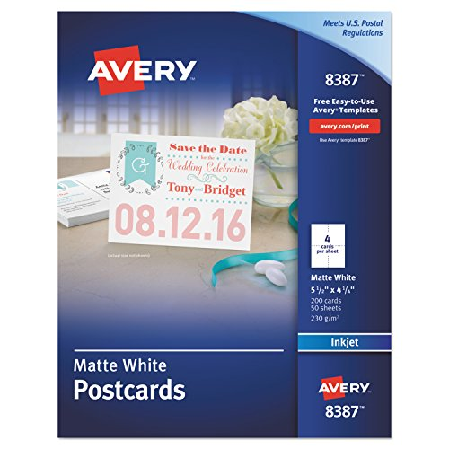 Avery Printable Cards, Inkjet Printers, 200 Cards, 4.25 x 5.5, U.S. Post Card Size (8387) by Avery
