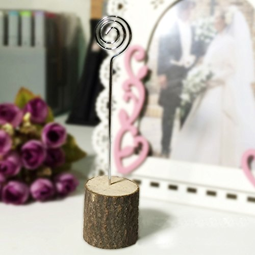 ECHI-Home Rustic Real Wood Base Wedding Table Name Number Holder Party Decoration Card Holders Picture Memo Note Photo Clip Holder (20-Pack) by ECHI-Home (Image #3)