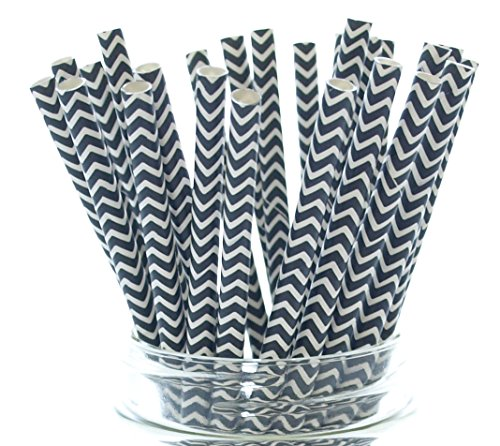 Black Chevron Old Fashioned Straws - 25 - Formal Graduation Straws, Halloween Party Supplies, Wedding Black Chevron Straws]()
