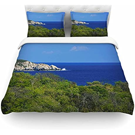 KESS InHouse NN1059ACD02 Duvet Cover Nick Nareshni Forest To The Ocean Green Blue Photography Queen Featherweight Duvet Cover 88 X 88
