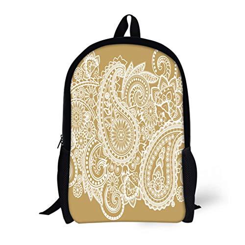 (Pinbeam Backpack Travel Daypack Brown Pattern Based on Traditional Asian Paisley Gold Waterproof School Bag)