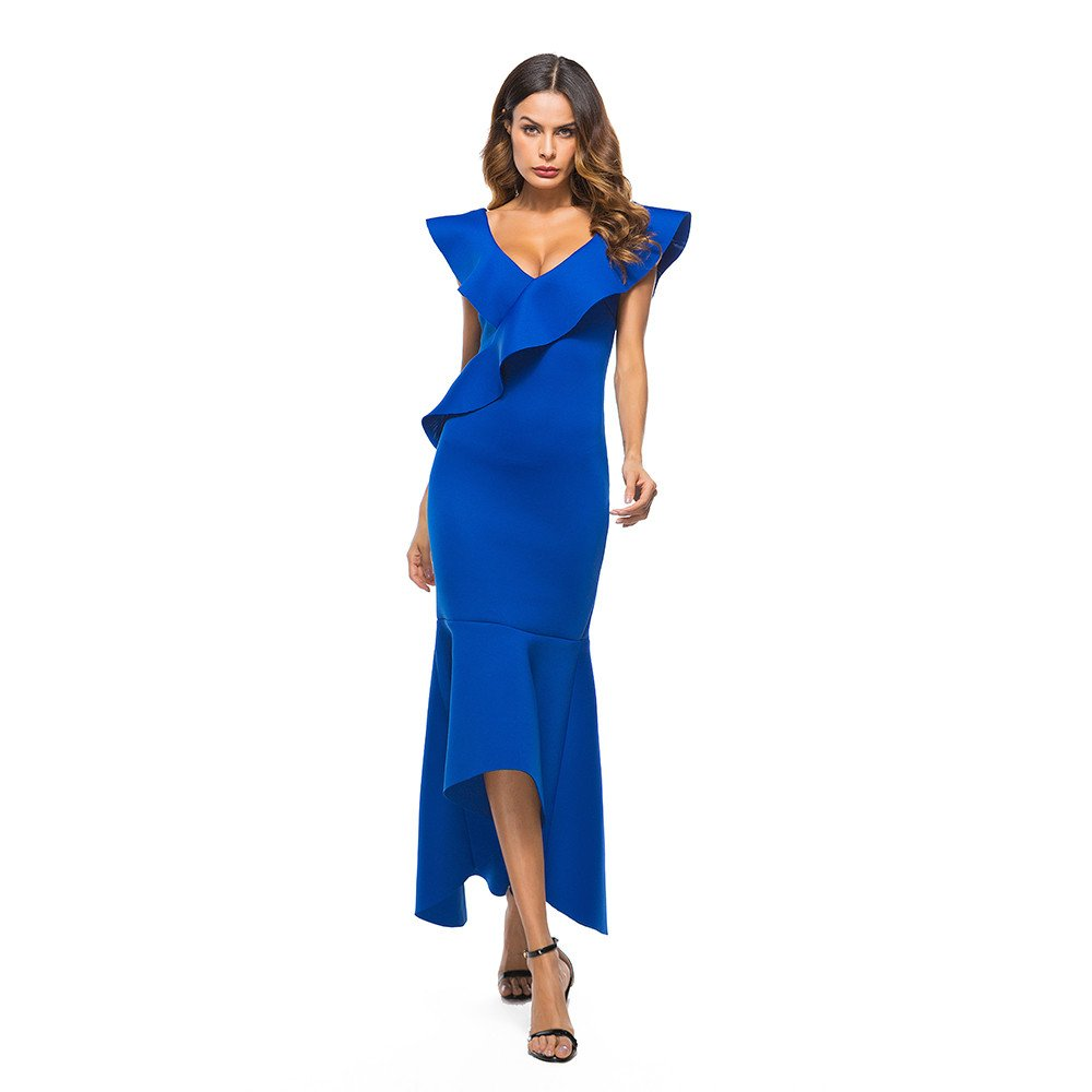 Dresses For Women Party Liraly New Fashion Sexy Dress Sleeveless Ruffle Irregular Dress Evening Party Dress(Blue ,US-8 /CN-L)