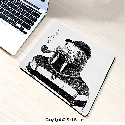 Non-Slip Rubber Mouse Pads Hand Drawn Dressed Up Walrus Animal Long Teeth Smoking Pipe Antromorphic Sketch Art Decorative for Computers Laptop Office(W7.8xL9.45)