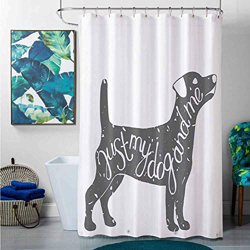Shower Curtains Dog Lover Decor Collection,Just Me and My Dog Message Quote -