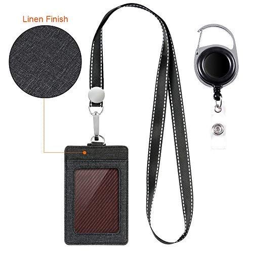 Life-Mate Badge Holder - Leather ID Card Holder Wallet Case with 3 Cards Slot and Neck Lanyard/Strap. Additional Retractable Badge Reel with Belt Clip (Black, Linen -