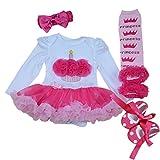Marlegard® Baby Girls' 4PCs Hot Pink Birthday Tutu Dress Headband Shoes Leggings
