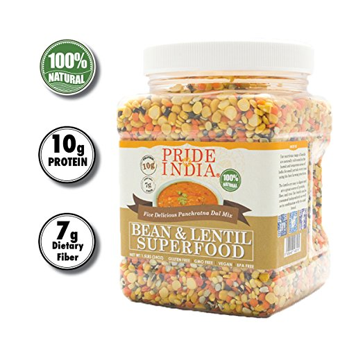 Pride Of India - Indian Bean & Lentil Superfood - Five Delicious Panchratna Dal Mix, 1.5 Pound Jar ()