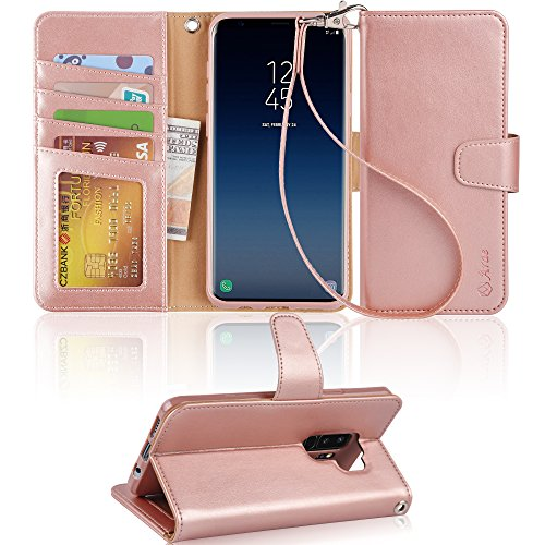 Galaxy S9 Plus Case, Arae [Kickstand Feature] PU Leather Wallet case with [4-Slots] ID&Credit Cards Pocket for Samsung Galaxy S9 Plus - Rosegold by Arae