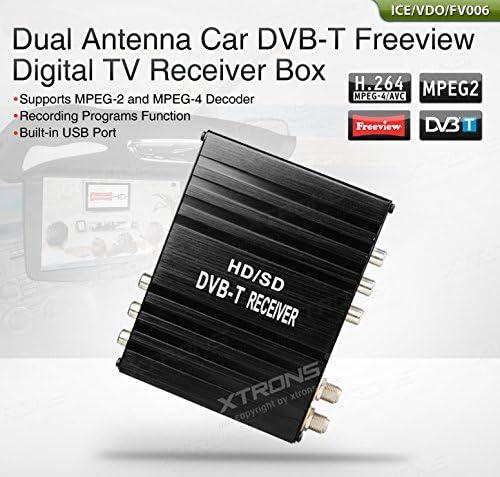 Xtrons® Dual Antena Auto DVB-T digital TV Receptor Caja MPEG-2 MPEG-4 Program récord USB Dual sintonizador